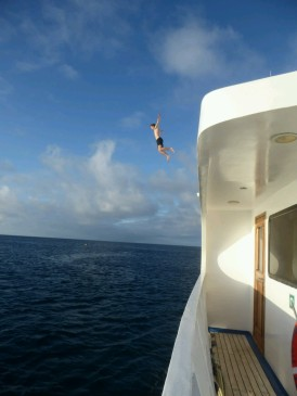 Andrew finally got his wish and was allowed to jump off the top of the boat
